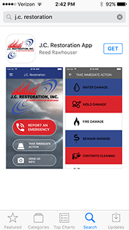 jc restoration mobile app pages
