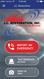 j.c. restoration mobile app screen