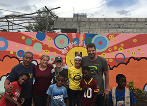 group of people smiling with the kids in Dominican Republic