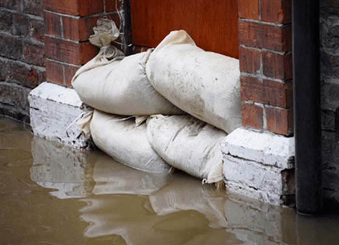 door in flood with sand bags