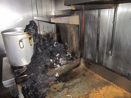 inside of a kitchen after fire damage