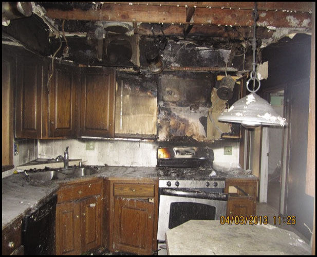 close up of a kitchen with fire damage