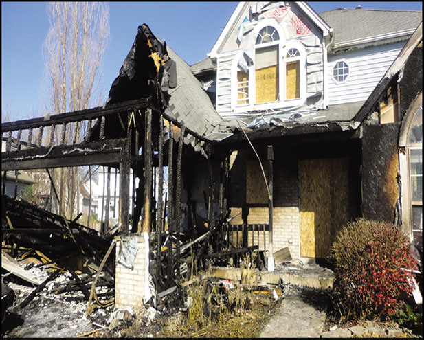 exterior view of residential home after fire damage