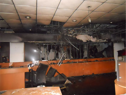 inside of damaged commercial building