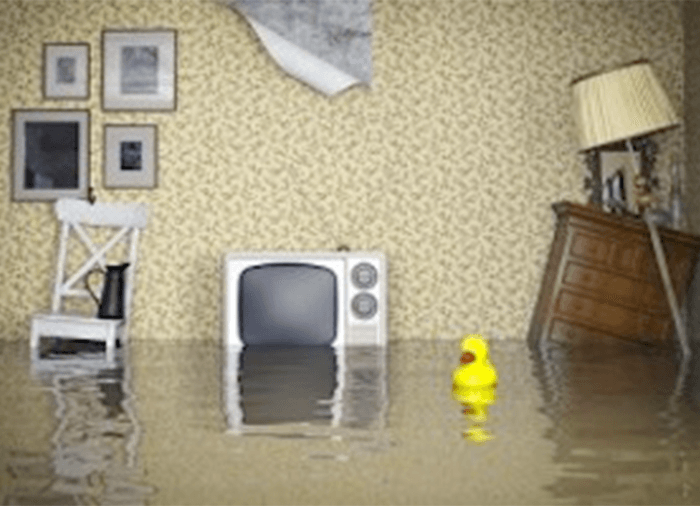 living room flooded