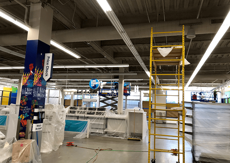 inside old navy store that is under-construction