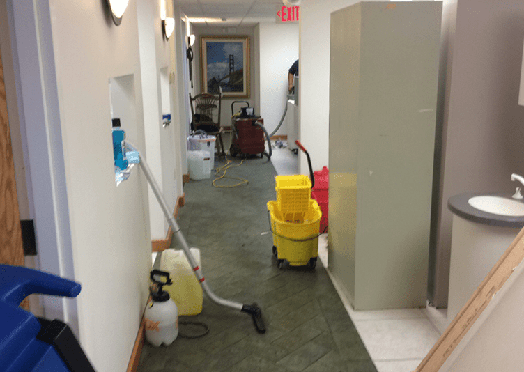 tools to fix the water damage inside dental office