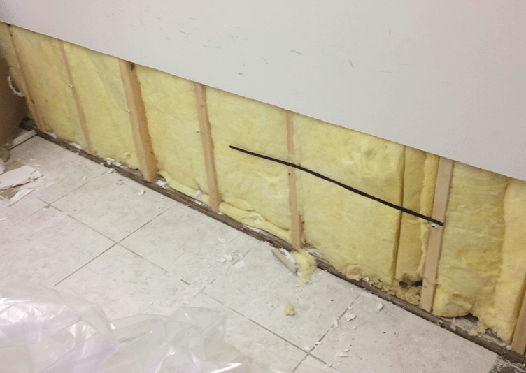 repairing the wall from water damage in dental medical office