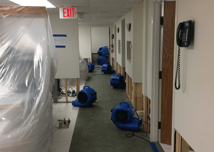 multiple dryers fixing water damage in dental office