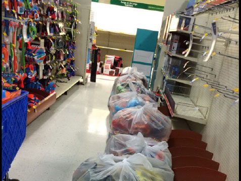 retail items stored in plastic garbage bags