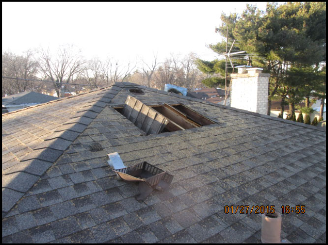 top of the roof with damage from residential fire