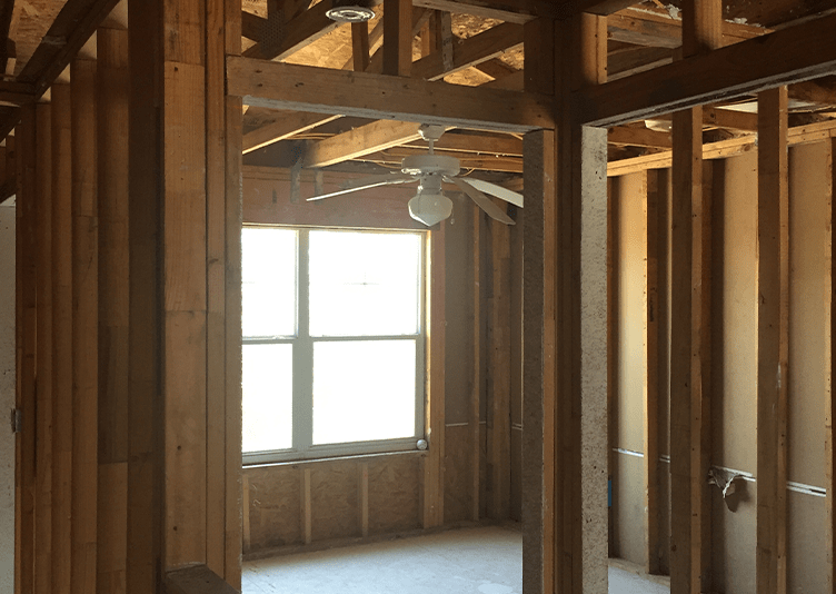 inside of building structure of a residential property