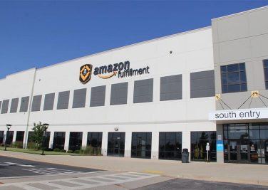 exterior of amazon fulfillment center in kenosha, wi