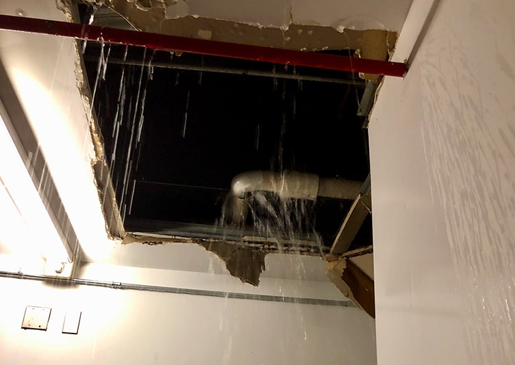 dripping water coming from ceiling