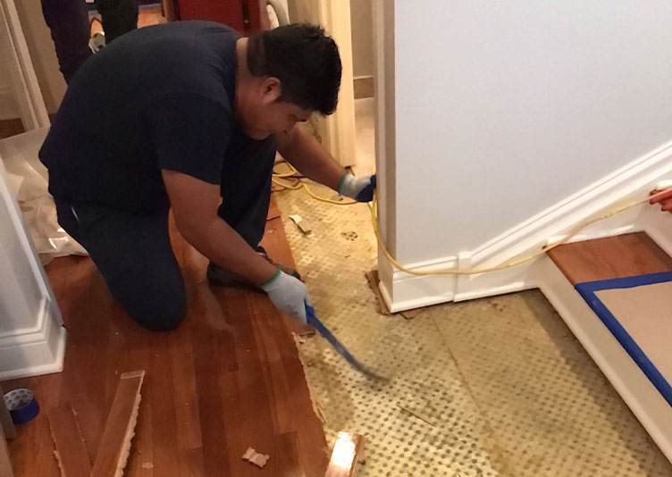 jc restoration staff member removing hardwood flooring in condo unit