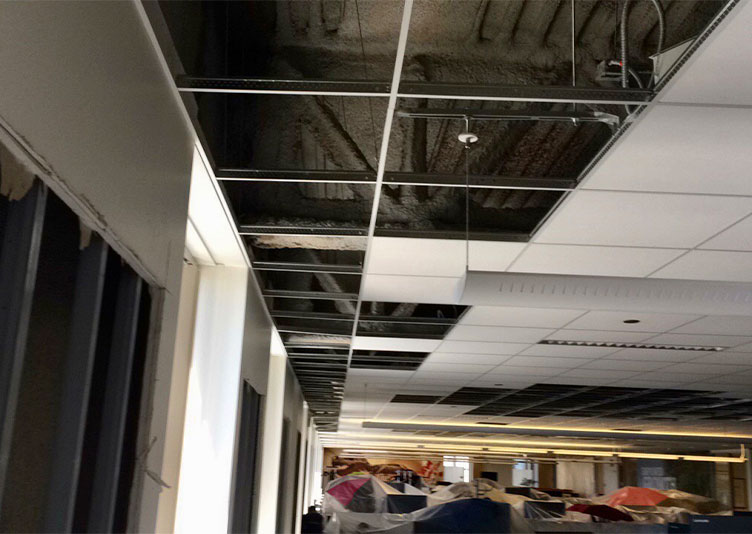 ceiling affected by water damage