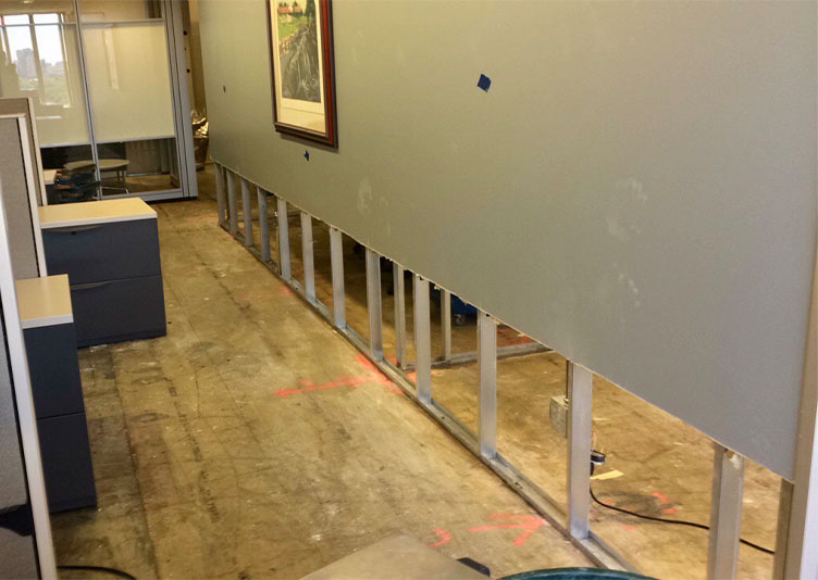 walkway behind cucibles with carpet removed