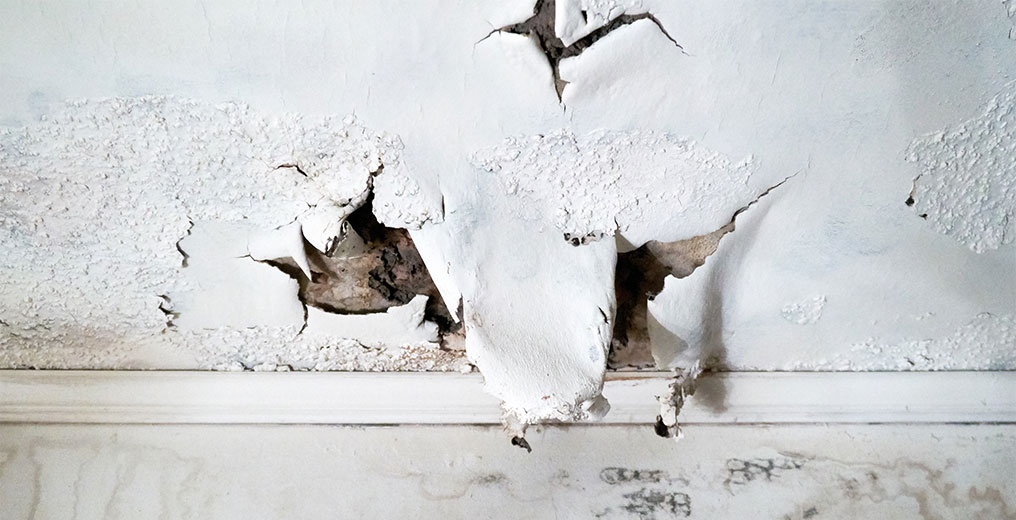 ceiling in need of water damage restoration in naperville, il