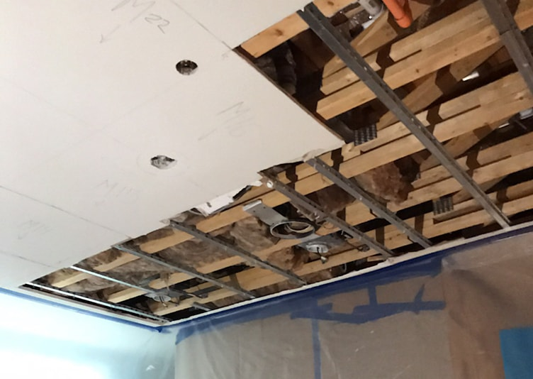 close-up of water damage in the ceiling
