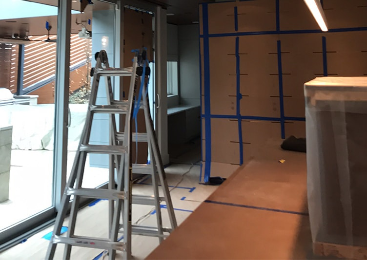 inside view of the building in chicago with water damage
