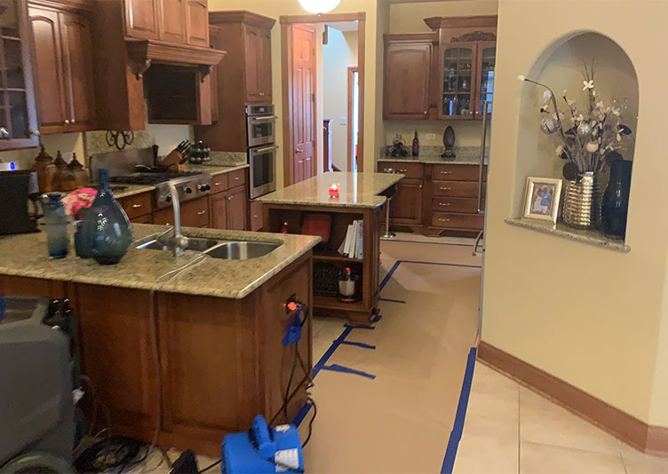 Interior of Shorewood, IL home during water damage restoration