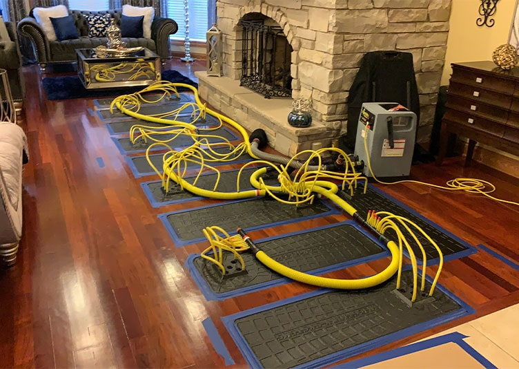 Equipment for water damage remediation at Shorewood, IL home
